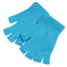 Sky Blue 2 Pair Unisex Soft Half Finger Gloves Warm Knitted Mittens Fing... - $265,75 MXN