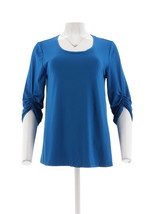 H Halston Knit Crepe Scoop-Neck Top Ruched 3/4-Sleeves Blueberry M NEW A... - $26.71