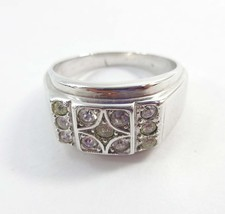 Mens Ring Signed White Gold Plated Chunky Size 13 Rhinestones Vintage 9221 - $23.76