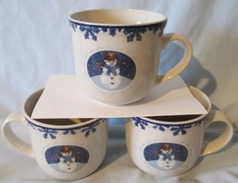Tienshan Folk Craft Holiday Blue Cameo Snowman Mug Set of 3 - $18.70