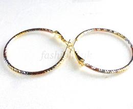 "Women's Yellow & White Multi Gold Plated Hoop Earrings 35mm 1.4"" Fashion Girl - $16.17"