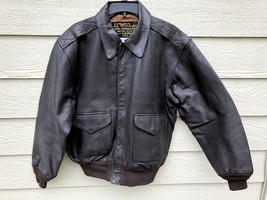 US AIR FORCE USAF FLYERS MEN'S LEATHER BOMBER TYPE A-2 JACKET - SIZE LARGE - $183.15