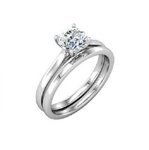 Round Cut CZ Solitaire Bridal Ring Set 14k White Gold Plated 925 Sterling Silver - $76.50