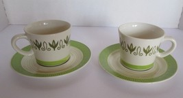 Lot 2 Sets Vtg Mayan White Green Ironstone 4211 Coffee Cup Mug & Saucer ... - $53.15