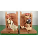 Hummel Figurine FARM BOY GOOSE GIRL BOOKENDS 60 A and B TMK 3 Goebel Germany - $96.97
