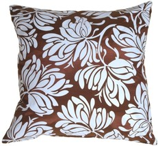 Pillow Decor - Bold Blue Flowers on Chocolate Accent Pillow - $29.95