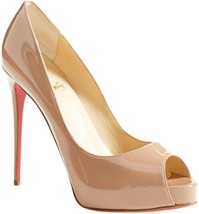 Christian Louboutin Prive Peep Toe Pumps Shoes Nude Beige Patent Leather 37 - $399.99