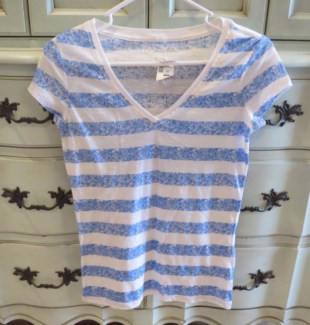 Primary image for Aeropostale Blue White Striped Tee Vneck Shirt Womens XS Short Sleeve New