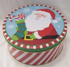 """NEW 2 Christmas Candy or Gift Tins With Lids Round 6.75"""" Santa Claus - $9.85"""