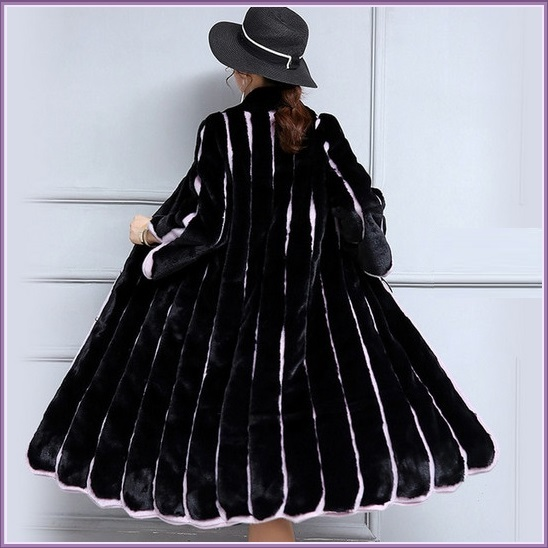 Black And Lavendar Moonlight Contrast Long Scalloped Mink Faux Fur Luxury Coat