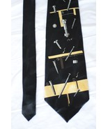 A Rogers Nails Nuts Bolts Silky Neck Tie Black and Gold Necktie - $11.39