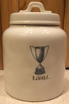 """Rae Dunn Pottery Canister Dog Treat Container - """"Reward"""" Trophy Design - $23.17"""