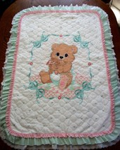 "Hand Quilted X Stitched ""BABY BEAR"" Baby Quilt Crib Cover Blanket add Ba... - $159.99"