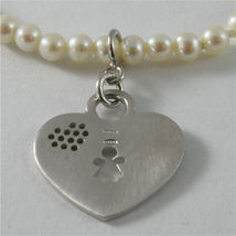 925 SILVER BRACELET WITH HEART AND GIRL PENDANT AND WITH FW WHITE PEARLS STRING image 3