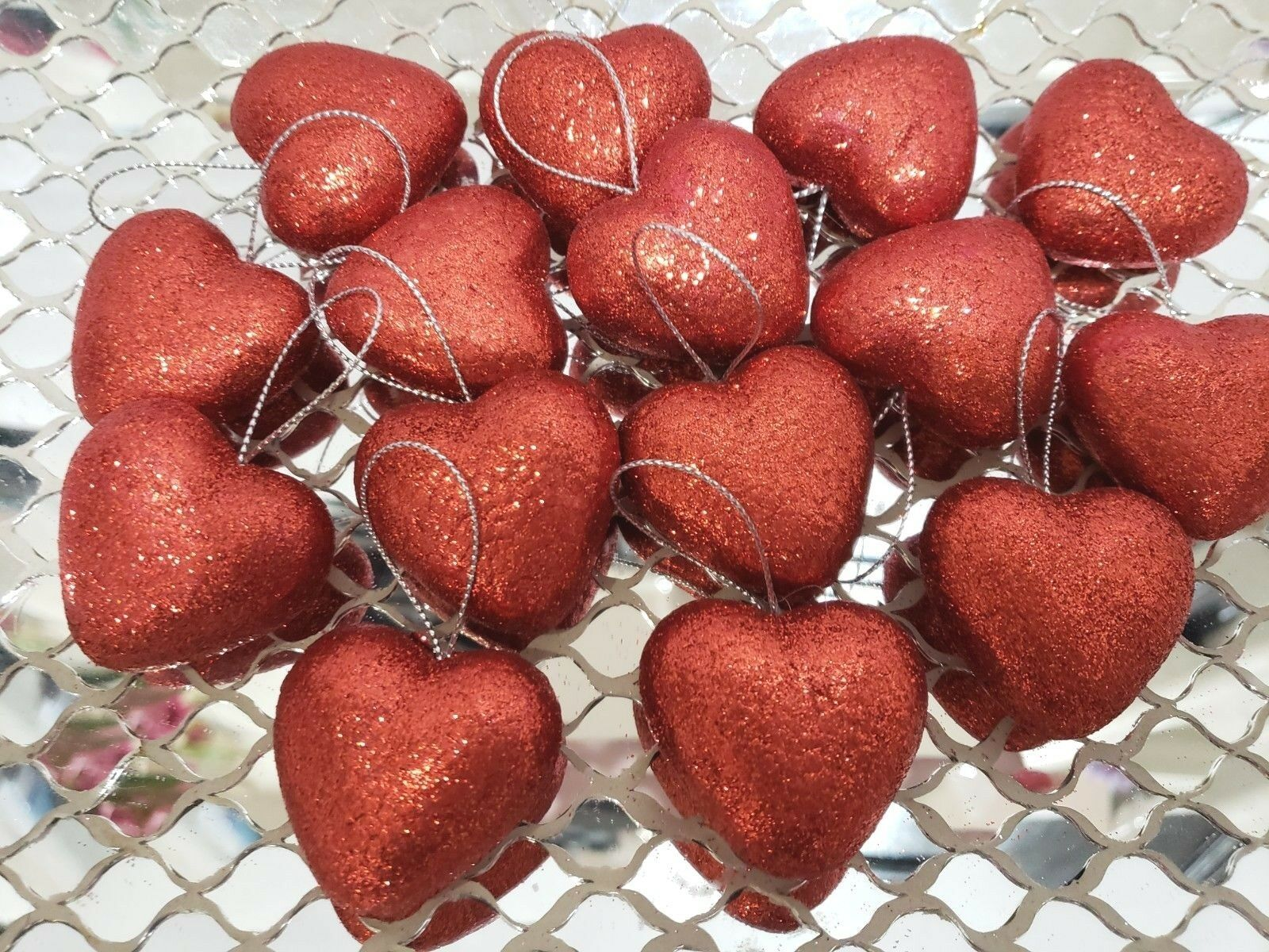 "Primary image for Valentines Day Red Glitter Hearts 1.5"" Ornaments Decorations Decor S/15"
