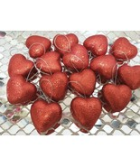 "Valentines Day Red Glitter Hearts 1.5"" Ornaments Decorations Decor S/15 - $14.99"