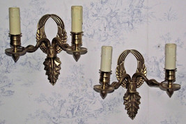 Unusual Pair of French Brass Mid Century Flying Bird Double Wall Sconces  - $112.00