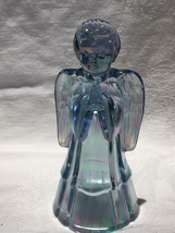 "Fenton Blue Iridescent Glass Angel 6"" in Perfect Condition - $10.00"