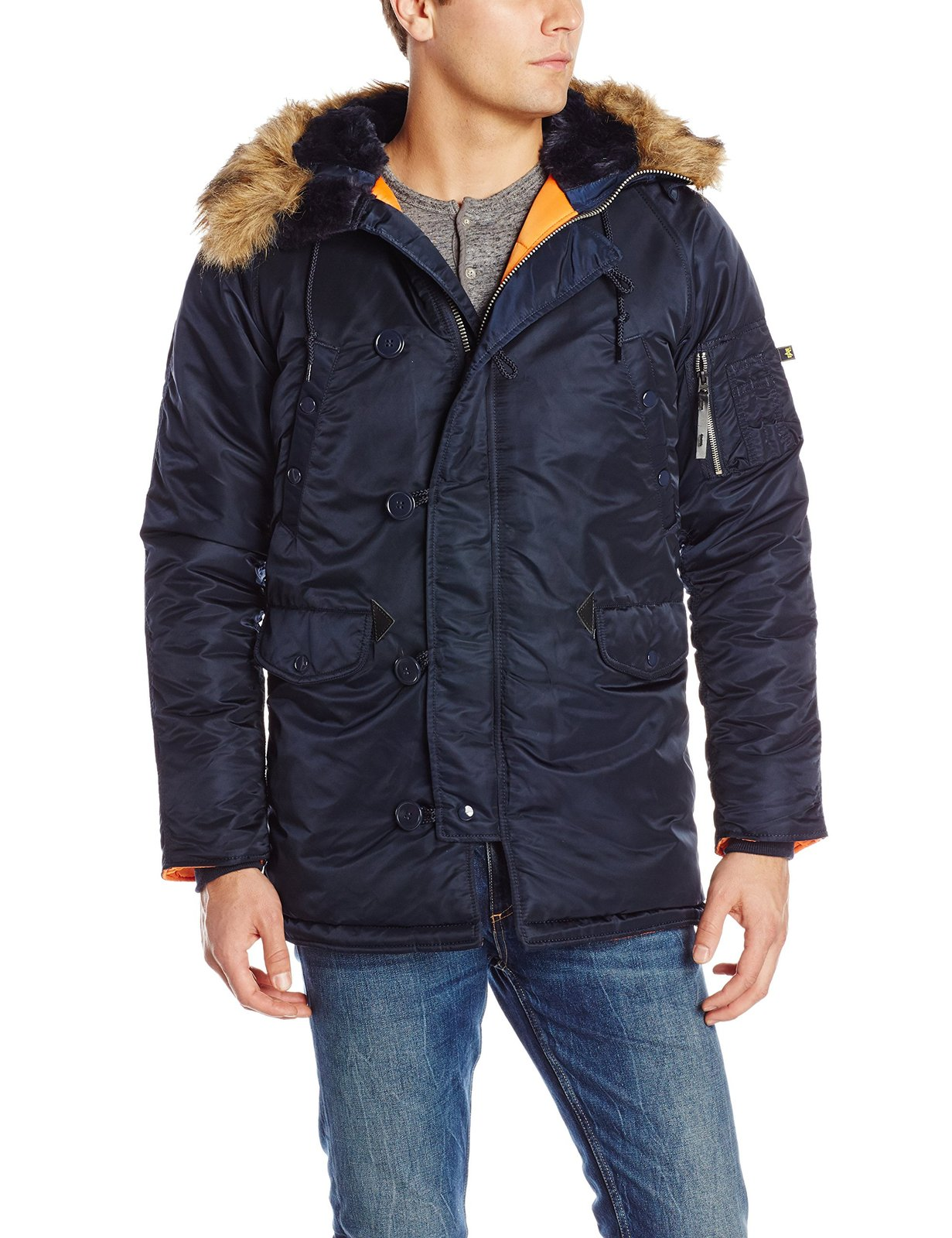 Alpha Industries Men's N-3B Slim-Fit Parka Jacket with Removable Faux-Fur Hood T