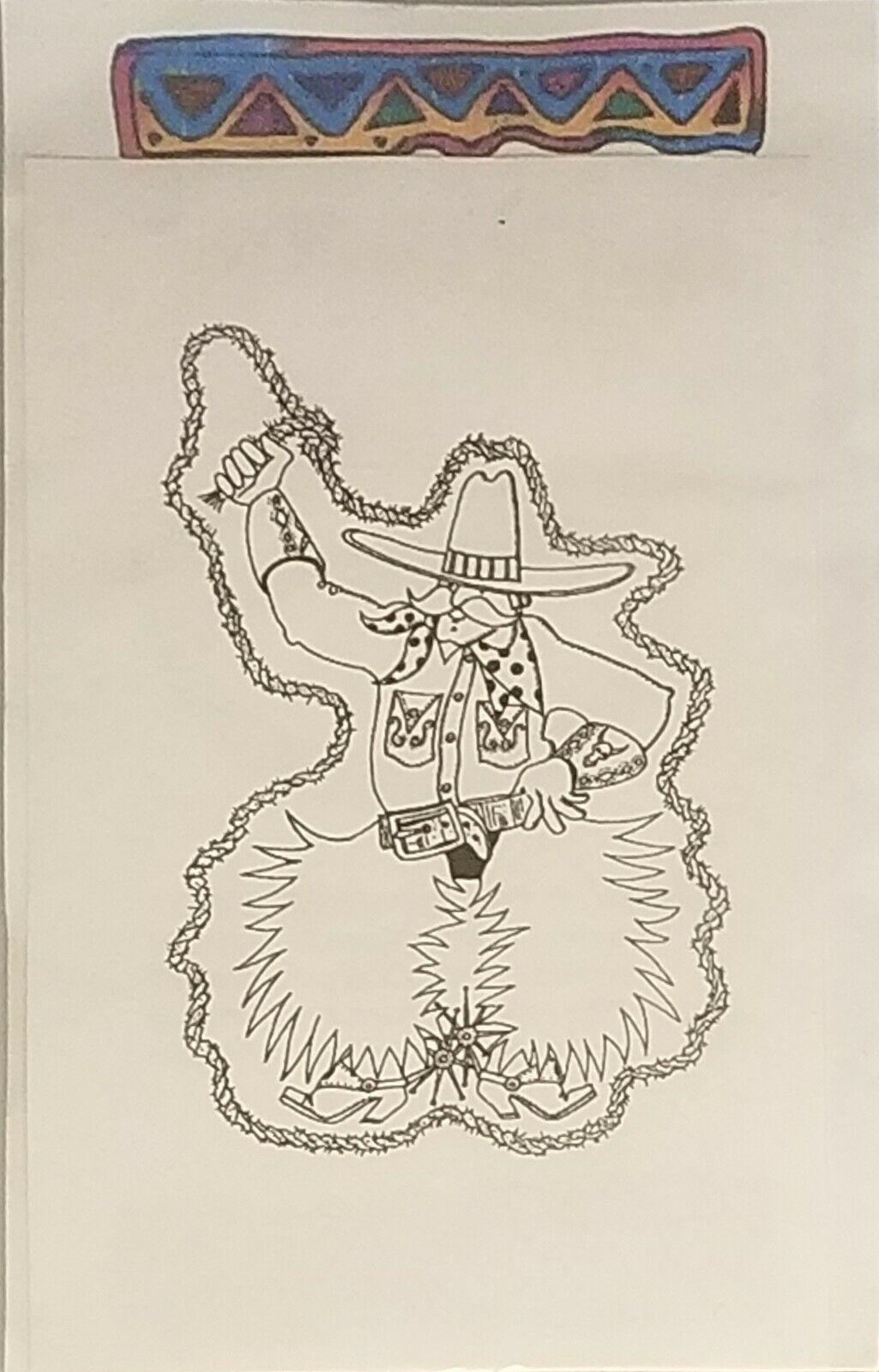 Terry Medaris Art Stamps Cowboy Unmounted Rubber Stamp