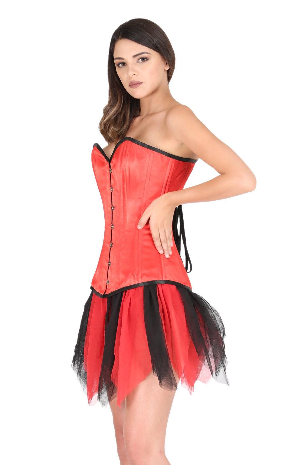 Red Satin Double Bone Goth Burlesque Bustier Net Tutu Skirt Overbust Corset Top