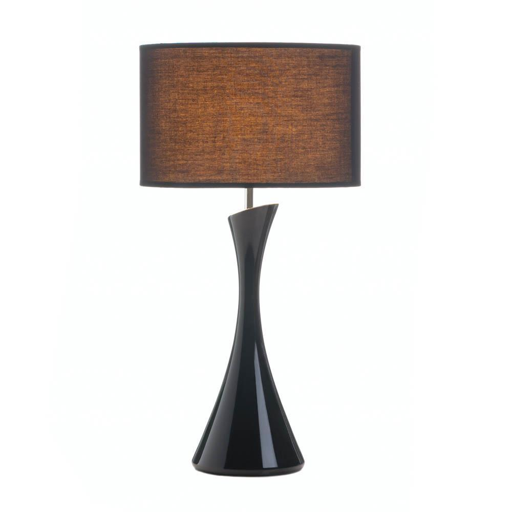 2 SLEEK MODERN Table Lamps Black Shade and Ceramic Base Indoor Lighting