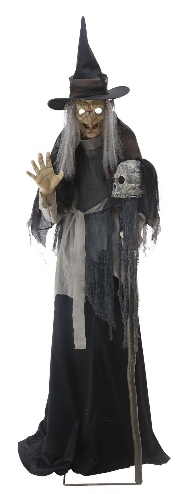 Life Size Animated Sound LUNGING HAGGARD EVIL WITCH Haunted House Halloween Prop