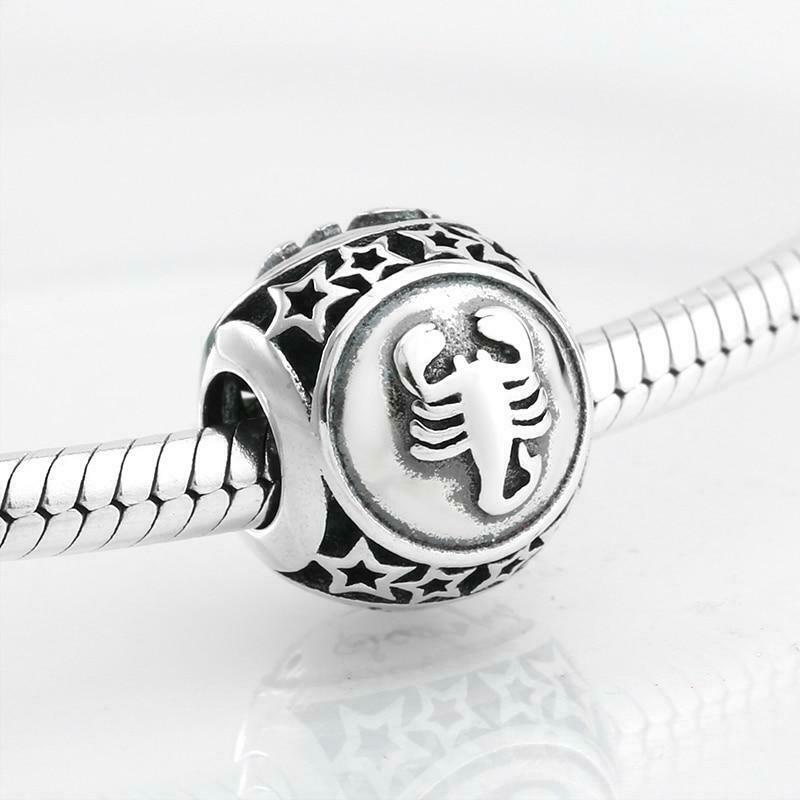 925 Sterling Silver Star Zodiac Original Pandora Charm Bracelet Jewelry
