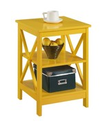 Yellow End Table X Style Lower Display Shelves Chairside Side Table Livi... - $84.64