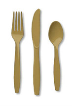 24 Piece Gold Premium Plastic Forks, Spoons, Knives Cutlery - 8 ea. - $7.12 CAD