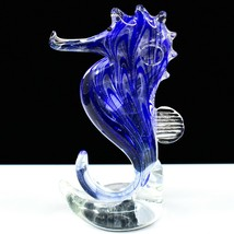Dynasty Gallery Handmade Blue Seahorse Glow in the Dark Art Glass Figurine image 1