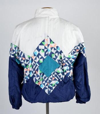 Vtg 90s Windbreaker Jacket Geometric Crop Bomber Track Boston Traders Womens M