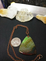 Necklace, Green Quartz Dragon Vein Pendant Copper Chain Natural Stone Women Men  image 7