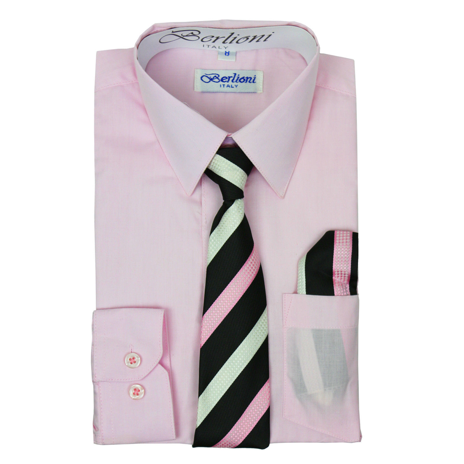 Berlioni Italy Toddlers Long Sleeve Pink Dress Shirt With Tie Size 2 NO HANKY