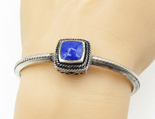 925 Silver - Vintage Leveled Twisted Ropes Framed Lapis Bangle Bracelet - B1378
