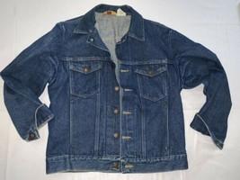 Vintage Rustler Jean Jacket Dark Blue 13oz Denim Made in USA Men's Mediu... - $28.49