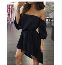 Black boho dress off shoulder small NWOT NEW - $15.88