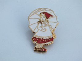 Vintage 1990s Girl With Umbrella Illinois Lapel Pin, White with Red Back... - $9.89