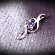 Christmas Gift, Sterling Silver Pendant, Purple CZ pendant for Everyday ... - $23.00