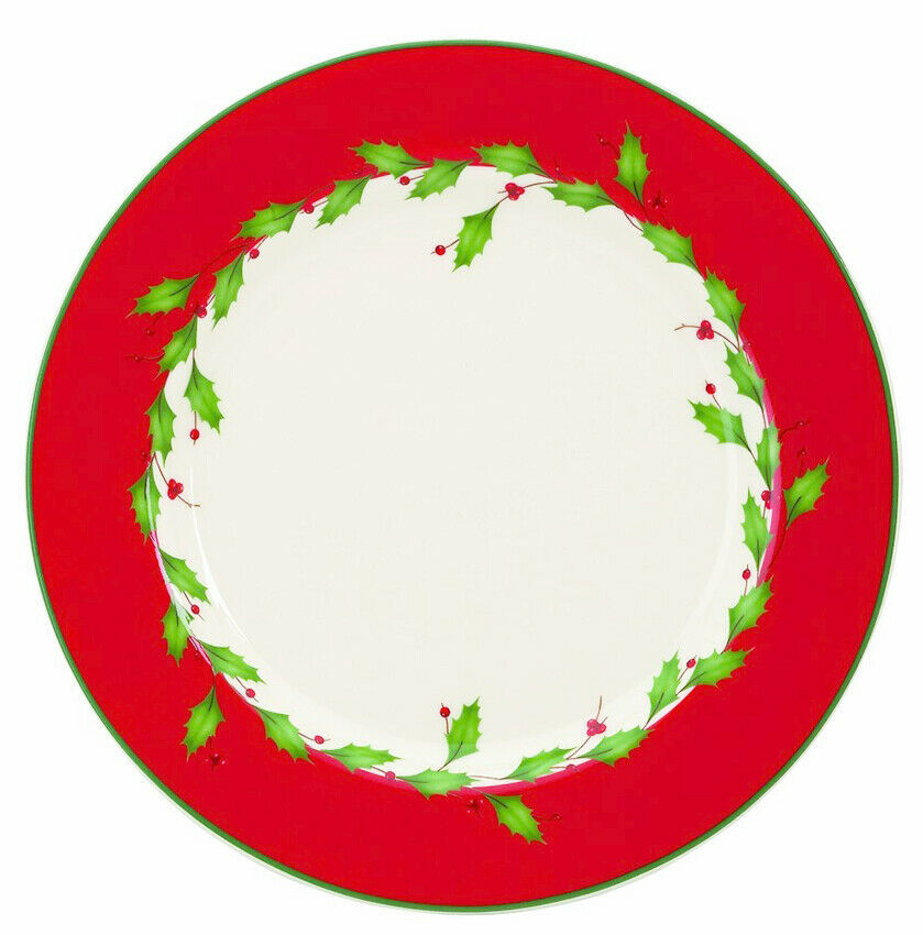 """Lenox HOLIDAY RED 8"""" Dessert Salad Plate Set of 4 Dimension New Boxed image 2"""