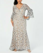 Betsy & Adam Embellished Lace Gown Grey/Nude Plus Size 14W $355 image 3