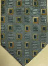 NEW Ermenegildo Zegna Light Blue With Gold and Dark blue Squares Tie Italy - $67.08