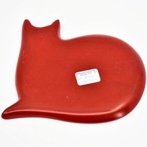 Vaneal Group Hand Carved Kisii Soapstone Red Sleeping Cat Trinket Dish Plate image 2