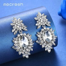 Korean Silver Color Big Wedding Drop Earrings for Bride Cute Rhinestone ... - $10.29