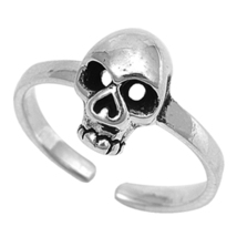 Skull Design Women's Adjustable Toe Ring 14k White Gold Over 925 Sterlin... - $9.99