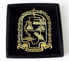 Illinois Brass Ornament State Landmarks Black Leatherette Gift Box - $14.95