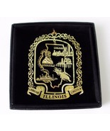 Illinois Brass Ornament State Landmarks Black Leatherette Gift Box - $14.95