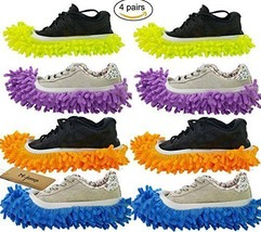 M-jump 8 PCS 4 Pairs duster Mop Slippers Shoes Cover Multi Function Chen... - £12.47 GBP
