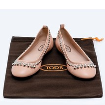 Brand New TOD'S Women Pink Leather Beaded Pearls Ballerina Flat Shoes UK... - $215.04