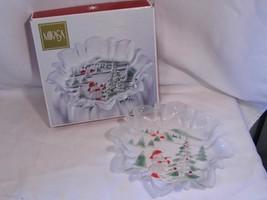 nib MIKASA Christmas Holiday Landscape pattern Crystal Bon Bon candy DISH - $10.99